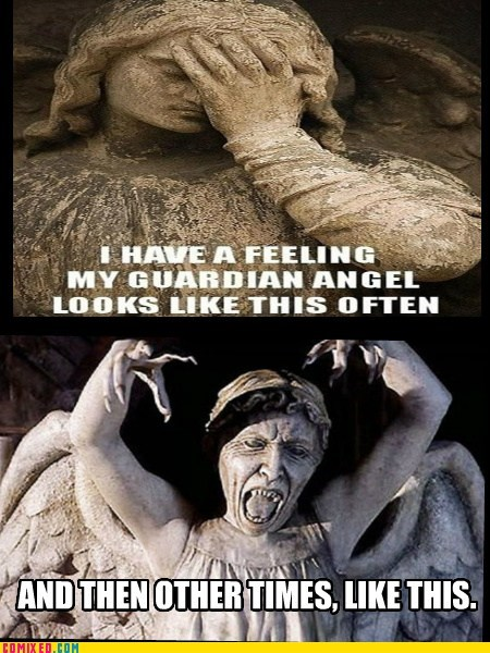 statues,guardian angel,angels,funny