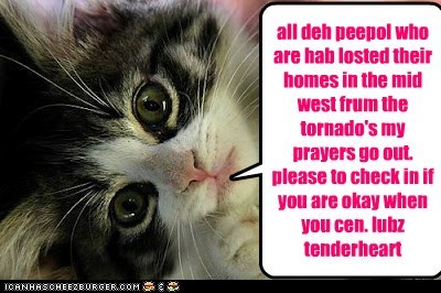 all deh peepol who are hab losted their homes in the mid west frum the tornado's my prayers go out. please to check in if you are okay when you cen. lubz tenderheart