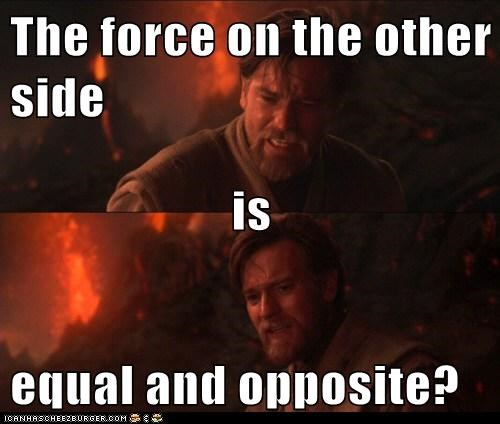 The force on the other side is equal and opposite?