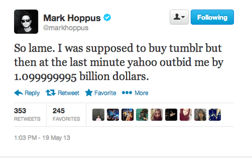 twitter,tumblr,mark hoppus,yahoo buys tumblr,yahoo,funny,blink 182