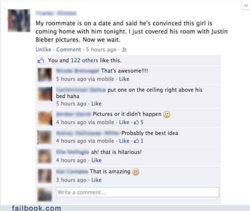trolling roommates funny justin bieber failbook - 7488467200
