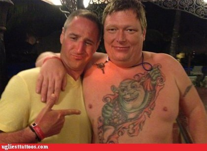 dreck,tattoos,shrek,funny,Ugliest Tattoos