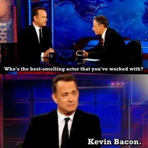kevin bacon,jon stewart,puns,tom hanks,the daily show,funny