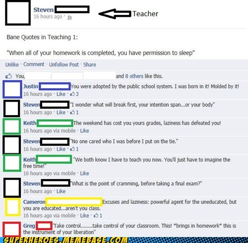 quotes bane teacher facebook Dark Knight Rises funny