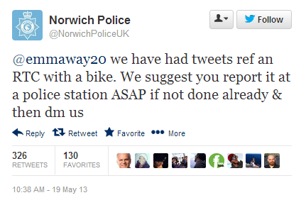 owned,cyclists,norwich,justice,hit and run,car crash,driving,car accident,arrest,norwich police,tweeting and driving,karma