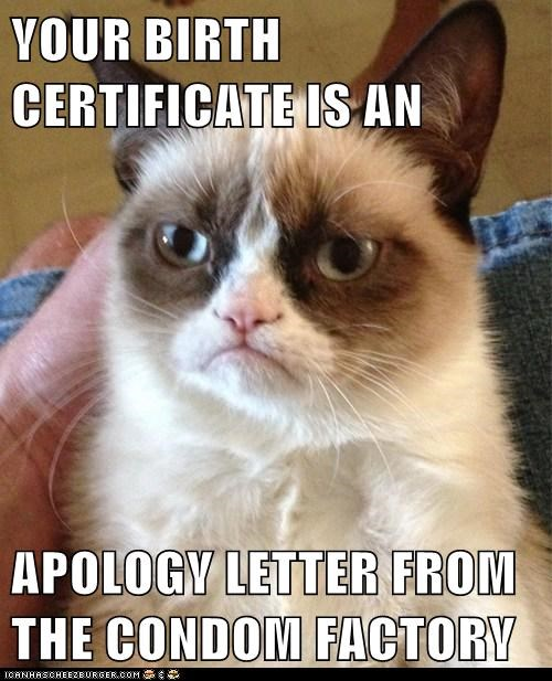 YOUR BIRTH CERTIFICATE IS AN  APOLOGY LETTER FROM THE CONDOM FACTORY