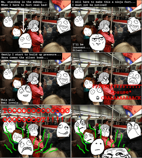 farting poker face Subway public transit funny