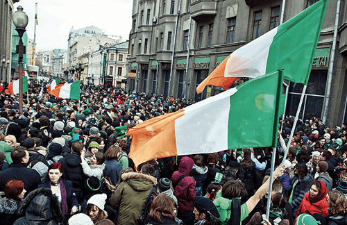 Ireland crowds flying their flag.