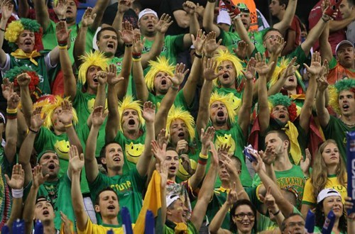 Sports fan's dress in green and yellow with their arms raised in celebration in Lithuania.