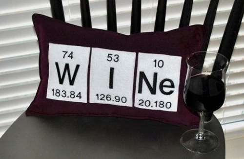 Pillow,periodic table,wine,funny,after 12,g rated