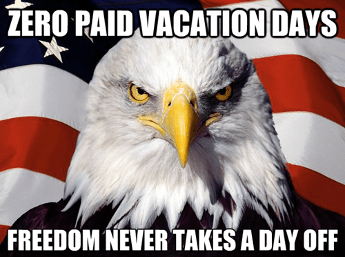 Americana meme of bald eagle in front of USA flag with a caption pointing out that USA has no paid vacation days.