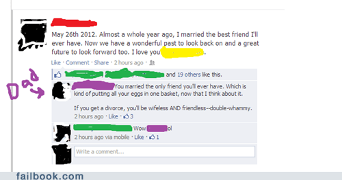 forever alone,dads,marriage,best friends,parents on facebook,parenting,wedding,divorce,funny,failbook