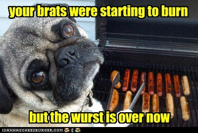 your brats were starting to burn but the wurst is over now