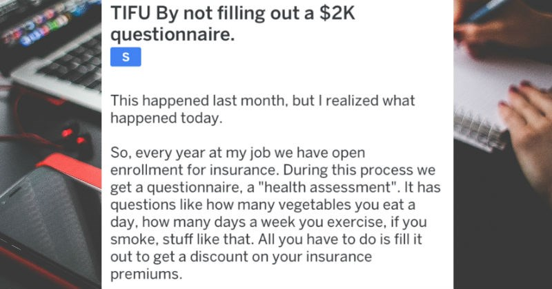 tifu employee didn't fill out $2K questionnaire