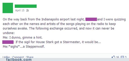 Game of Thrones,steppenwolf,funny,house stark,puns
