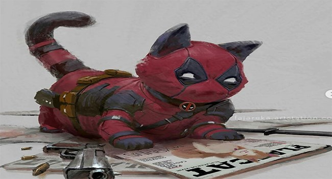 cats as different superheroes cat in deadpool costume