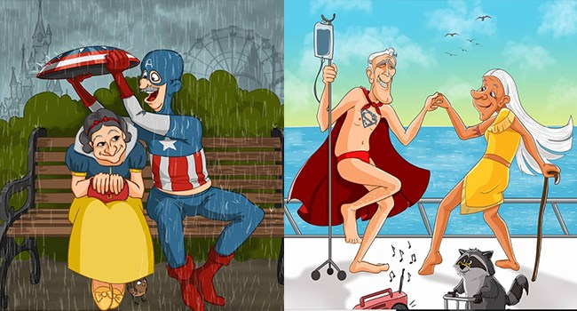 old super heroes pensioners illustration grandparents web comics - 7506949