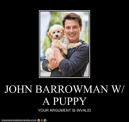 JOHN BARROWMAN W/ A PUPPY