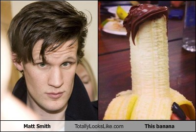 hair,banana,Matt Smith,totally looks like,doctor who,funny