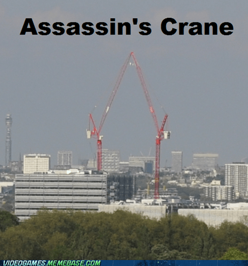 IRL,assassins creed,funny,cranes