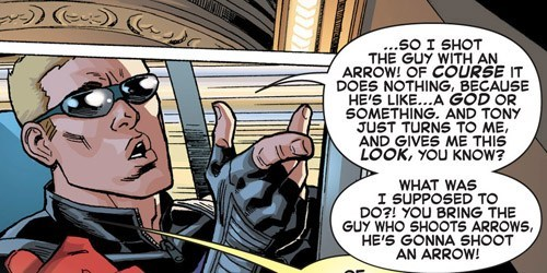 arrow off the page hawkeye iron man funny - 7510424320