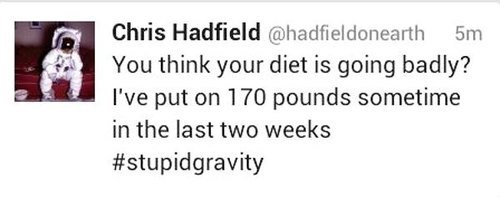 nasa,chris hadfield,weight,astronauts,Gravity,funny,space,failbook,g rated