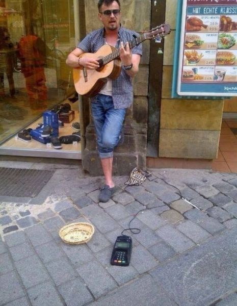 ATM,street performer,panhandler,funny
