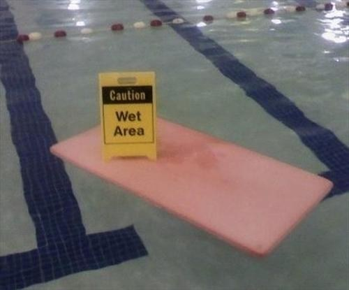 caution wet floor swimming pool wet area funny - 7510953728
