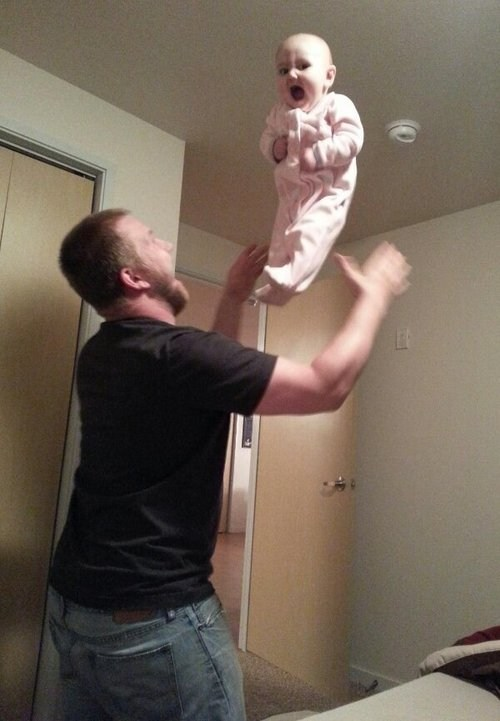 Babies,dads,throwing kids,funny,parenting