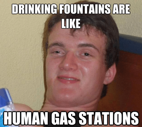 Memes drinking fountains super high guy funny - 7511063040