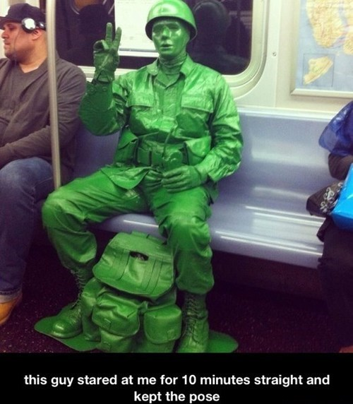 army man,Subway,green man,funny