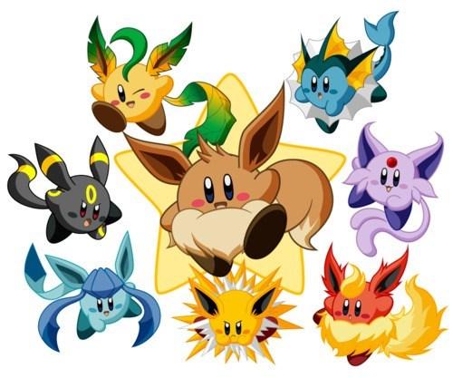 crossover Pokémon kirby Fan Art eevee - 7511516672