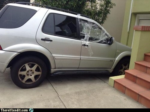 car windows,broken,funny,saran wrap