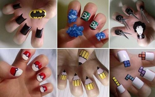 nails,nail polish,manicures,funny,Pokémon,Edward Scissorhands,batman,science
