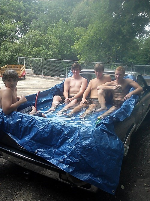 redneck pool party,pickups,pool,truck bed,funny