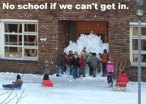 school,kids,funny,snow,barricade