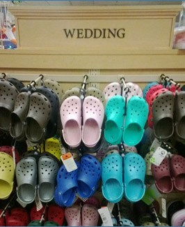 wedding clothes,crocs,funny