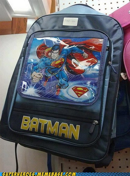 wrong,batman,funny,superman,backpack