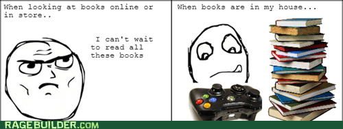 reading books video games xbox 360 funny - 7528514304