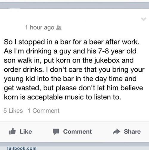 drinking bars kids parenting Korn jukebox