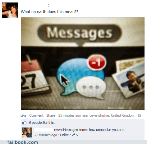 facebook chat forever alone new message notifications MESSENGER imessages funny - 7529432320