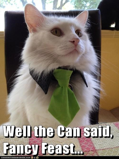 tie,fancy feast,can,food,funny