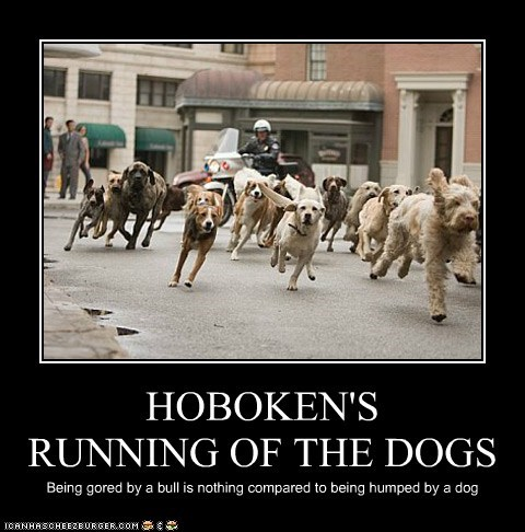 HOBOKEN'S RUNNING OF THE DOGS Being gored by a bull is nothing compared to being humped by a dog