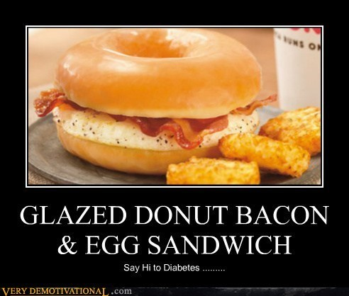 breakfast,diabetes,donut,egg,funny,bacon
