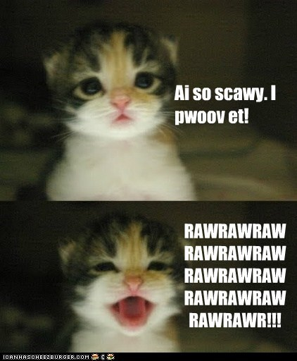 scary rawr kitten funny - 7536996608