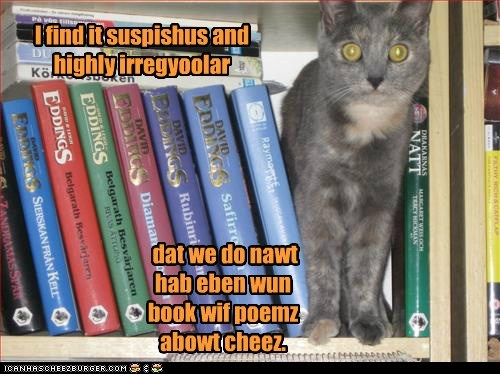 I find it suspishus and highly irregyoolar dat we do nawt hab eben wun book wif poemz abowt cheez.