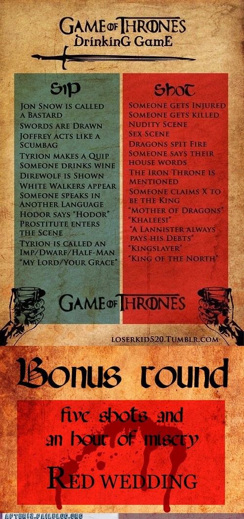 Game of Thrones throne weep red wedding drinking game funny