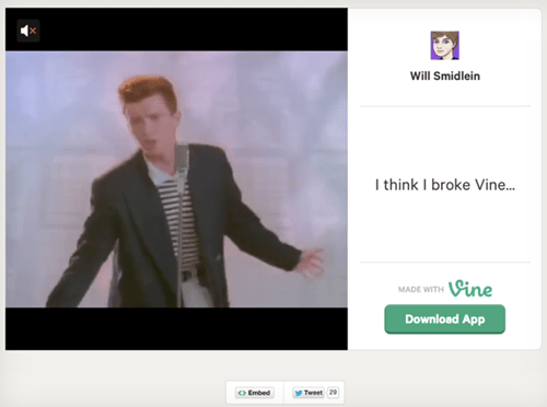 never gonna give you up twitter android rickroll will smidlein vine rickrolled rick astley funny failbook