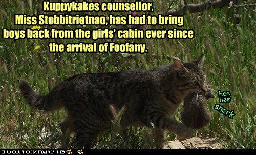 Kuppykakes counsellor,  Miss Stobbitrietnao, has had to bring boys back from the girls' cabin ever since the arrival of Foofany.