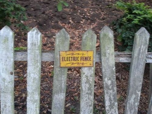 signs,picket fences,electric fences,funny